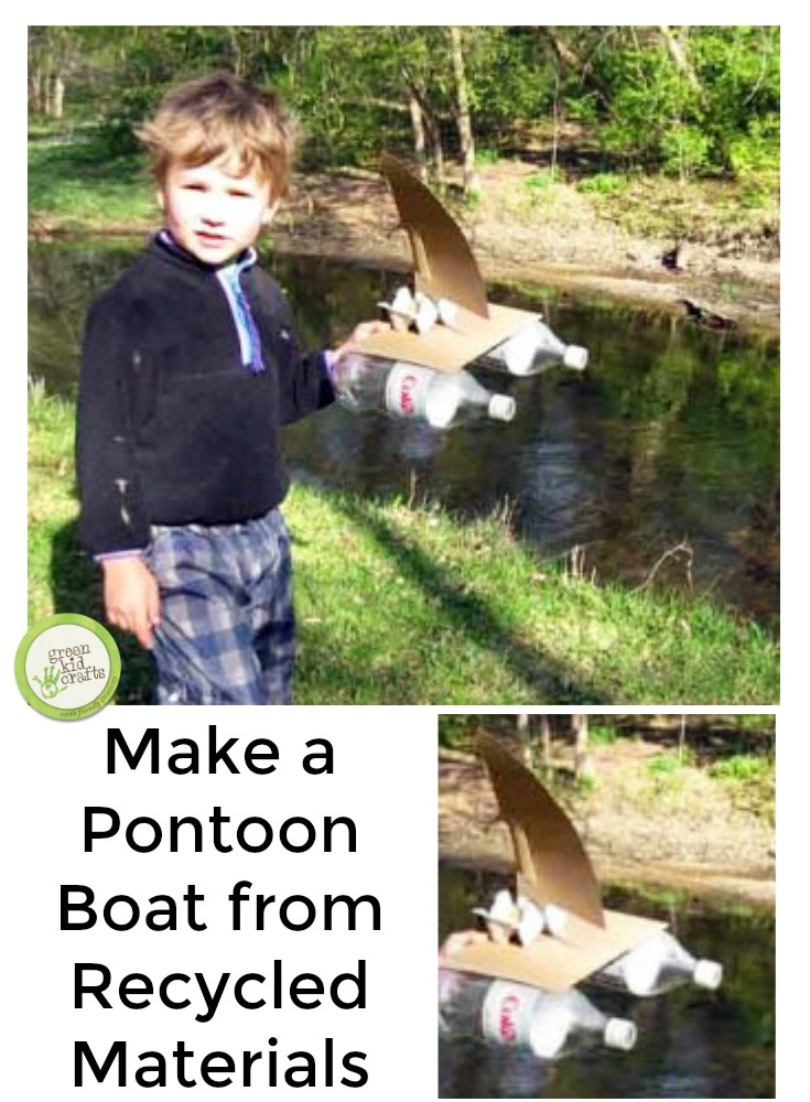 Make a pontoon from recycled materials! This boat actually floats and is made from materials commonly found at home.
