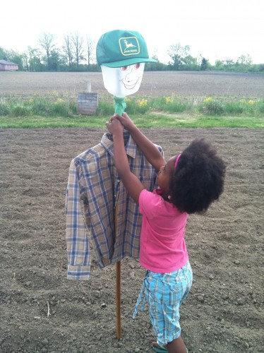 milk jug scarecrow