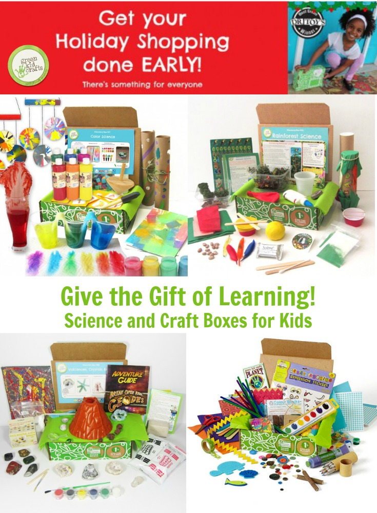 Give the give of science and crafts! Educational and fun, Green Kid Crafts offers single craft/science boxes and monthly subscriptions. STEM, STEAM, kids crafts.
