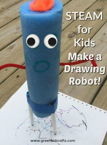 STEAM activity for kids. Combine art and science to make this cool robot from a pool noodle! Pool noodle craft.
