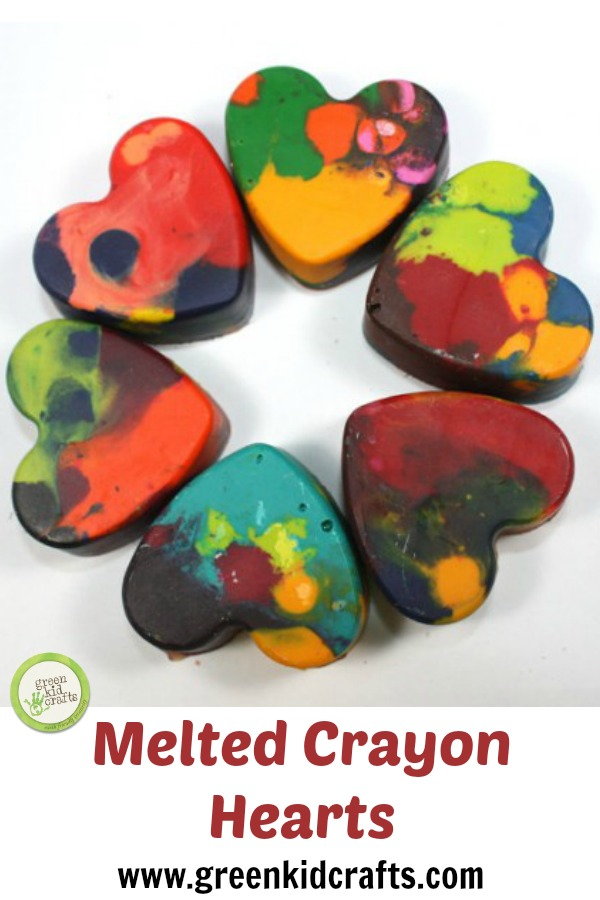 Make heart shaped crayons from broken or unused crayon pieces. Great for coloring any time of year and for Valentine's Day gifts!