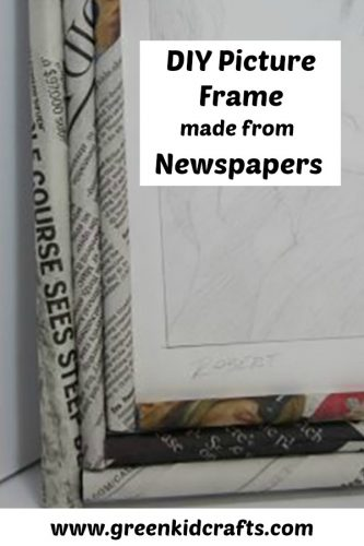 DIY picture frame made from recycled newspapers. Craft with recycled paper to make this cute home decor gift!