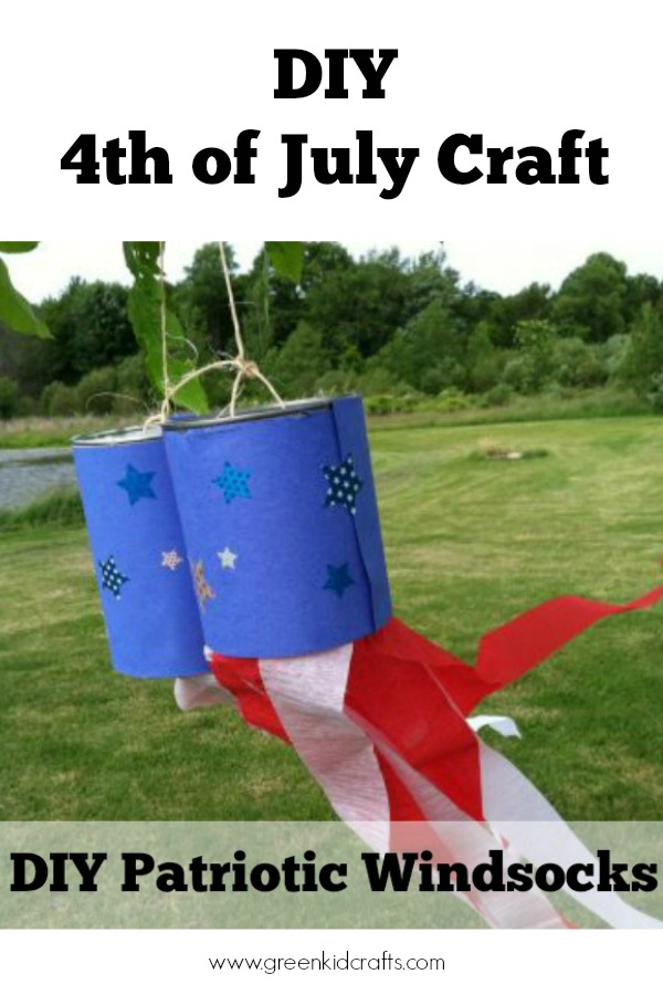 DIY windsocks for kids to make as Fourth of July decorations! Red, white and blue kids activity.