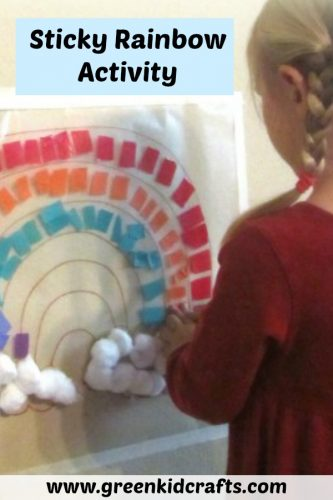 Contact paper craft for kids. Make a colorful rainbow craft.
