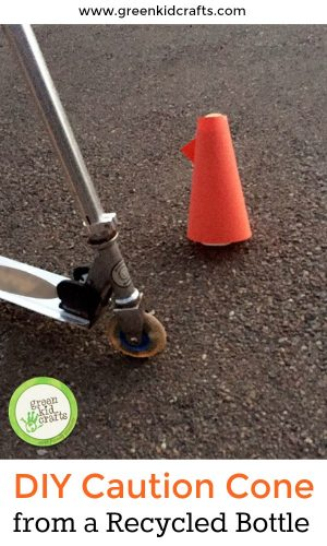 Use a recycled bottle to make a caution cone for kids! Recycled materials craft, outdoor play and indoor play!