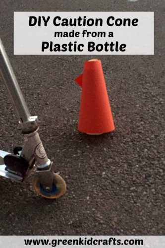 DIY caution cone made from a plastic bottle. Make your own traffic zones for bike riding and scooters!
