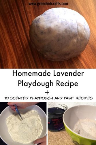 Calming lavender playdough recipe to make at home plus ten more scented playdough and paint diy recipes!