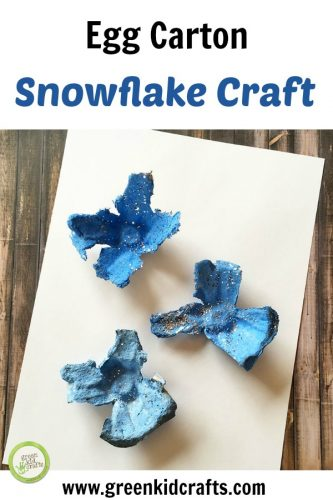 Egg carton snowflake craft for kids. Make snowflakes from upcycled egg carton cups!