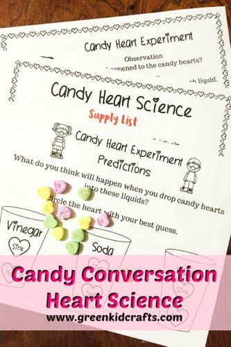 Candy conversation hearts science activity. Use candy hearts in this science experiment for kids!
