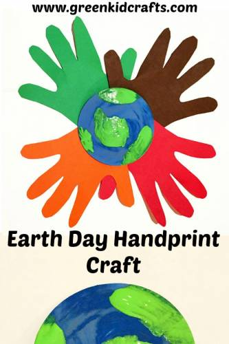 Celebrate Earth Day with a fun handprint craft for kids. Paint an earth and surround it with handprints!