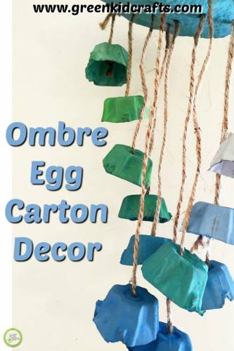 Upcycled egg carton craft for kids. Make a colorful diy decoration for a child's bedroom, diy egg carton mobile.