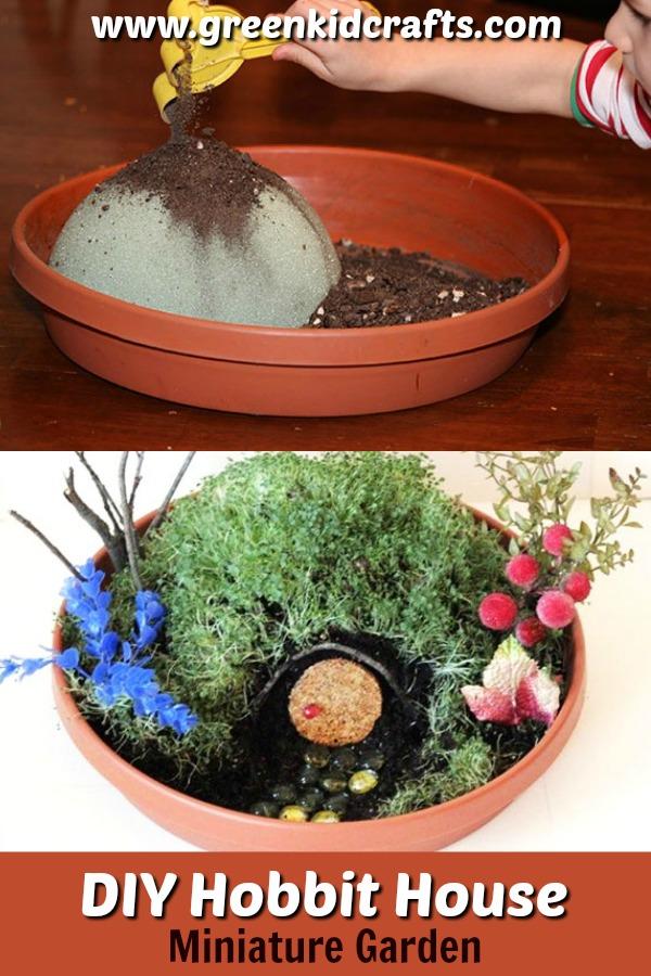 DIY miniature garden. Make a home for a hobbit with this cute hobbit house fairy garden.