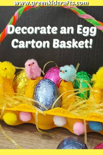 Decorate a diy easter egg basket made from an egg carton! Cute craft to upcycle old egg cartons for Easter.