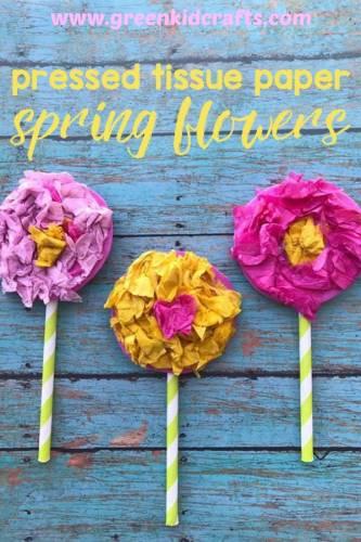 Spring craft for kids. Tissue paper flower craft for kids. Celebrate spring with a spring craft!