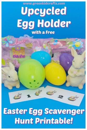 Easter scavenger hunt priontable and diy egg holder. Free printable scavenger hunt for kids.