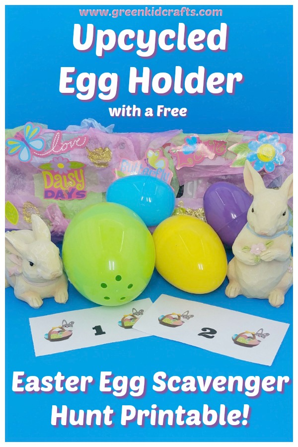 Easter scavenger hunt priontable and diy egg holder. Free printable scavenger hunt for kids.