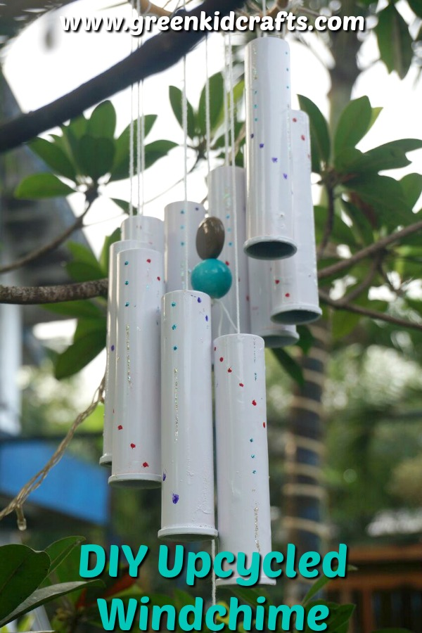 DIY windchime from upcycled materials. Make a windchime for your garden or yard out of these recycled plactic tubes.