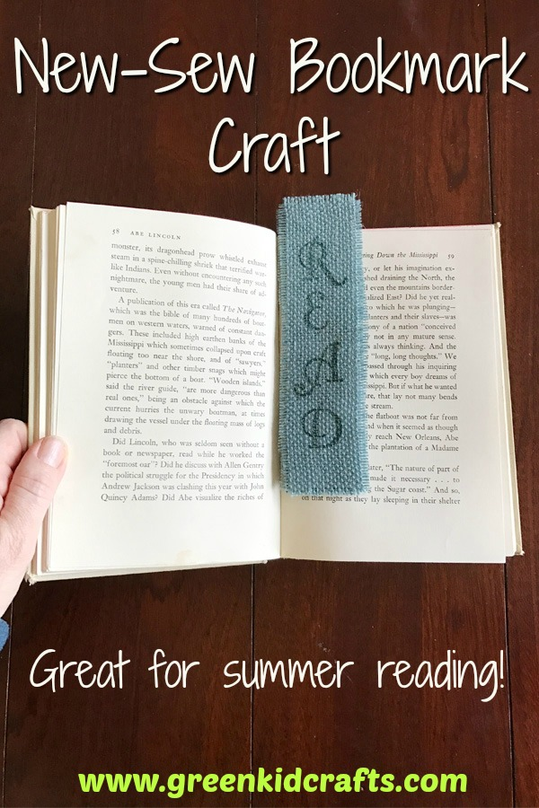 DIY no-sew fabric bookmark craft for kids. Summer reading bookmark craft. Fabric craft for kids.