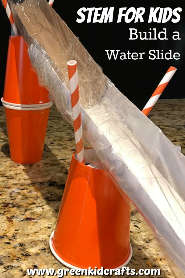 STEM activity for kids. Build a water slide as a summer STEM project for kids. Engineering project for kids.