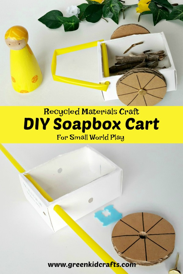 Recycled materials craft for kids. Make this cute soapbox cart for small world play.