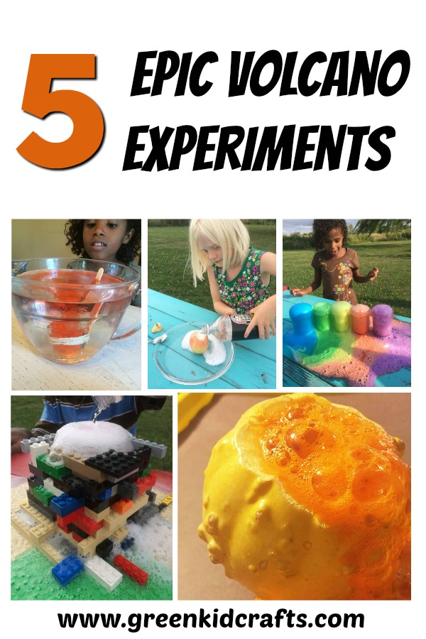 5 epic volcano experiments that kids can do at home. Apple volcano, LEGO volcano, fall science experiment volcano, rainbow volcano and an underwater volcano!