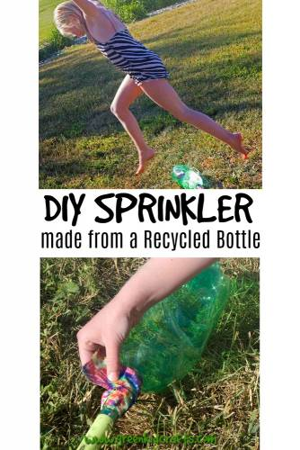 DIY sprinkler from a recycled plastic bottle. Make a sprinkler from a soda bottle and a garden hose. Easy diy backyard fun!
