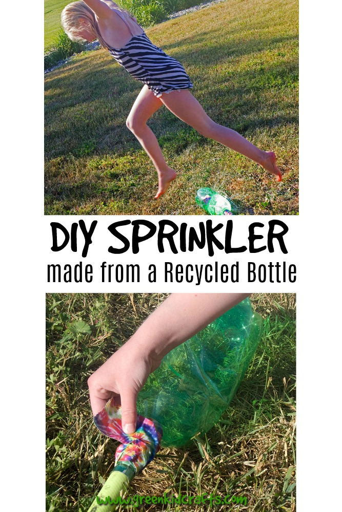 DIY sprinkler from a recycled plastic bottle. Make a sprinkler from a soda bottle and a garden hose. Easy diy backyard fun!