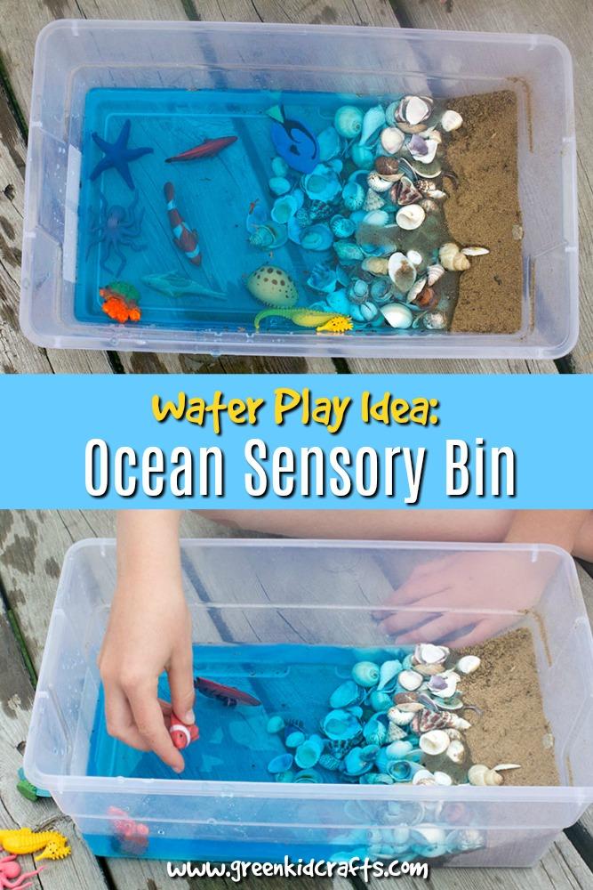 create an ocean sensory bin for kids green kid crafts