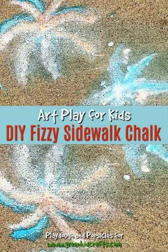 DIY fizzy sidewalk chalk. Make your own sidewalk chalk that foams and fizzes on the sidewalk!