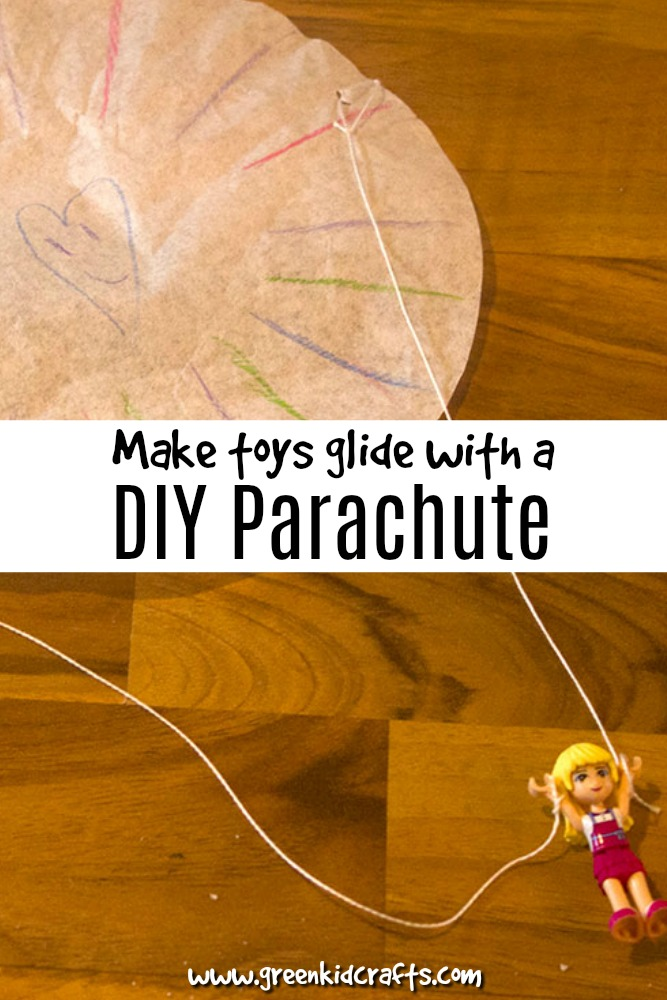 Make toys glide to the ground with a diy parachute! Easy afternoon activity for kids of all ages.