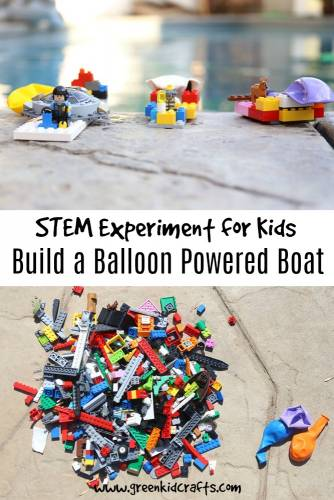 LEGO STEM for kids. Build a balloon powered boat in this building project for kids.