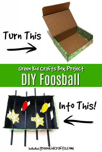 DIY foosball game from a cardboard box. Use your Green Kid Crafts box to make a foosball game at home!