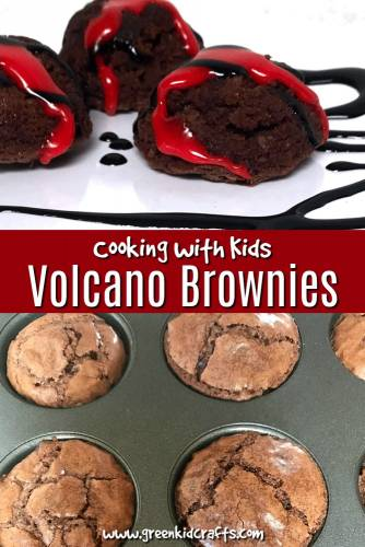 Volcano brownies recipe. Easy recipe that kids can help with in the kitchen. #volcanosnack #volcanoscience #recipeskidscanmake