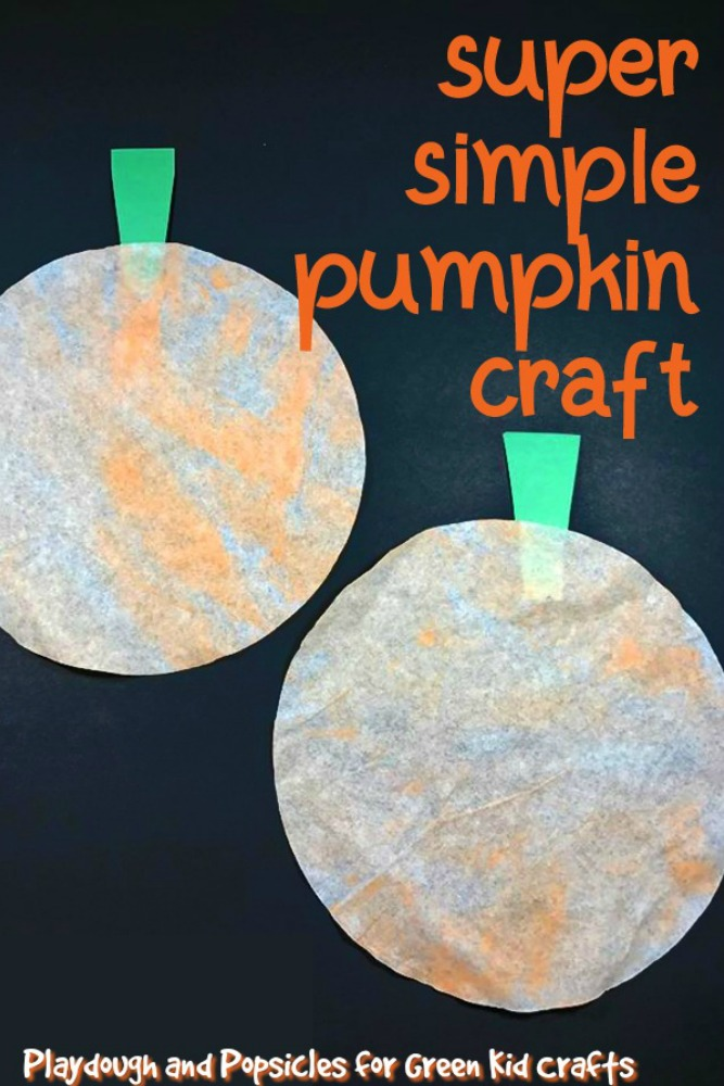 Festive Painted Coffee Filter Pumpkin Craft Green Kid Crafts
