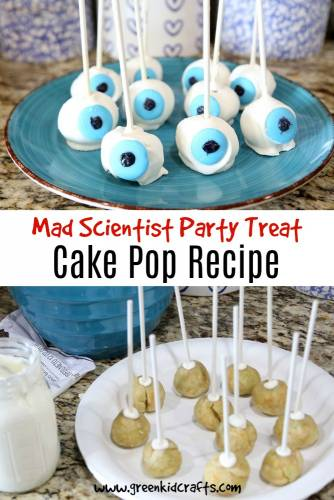 Mad scientist cake pop recipe to go along with a mad science themed party. Eyeball cake pops.