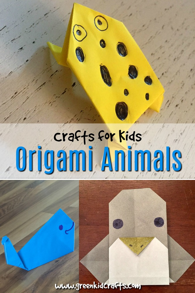 Easy origami animals. Directions for making an rigami frog, panda, whale and penguin.