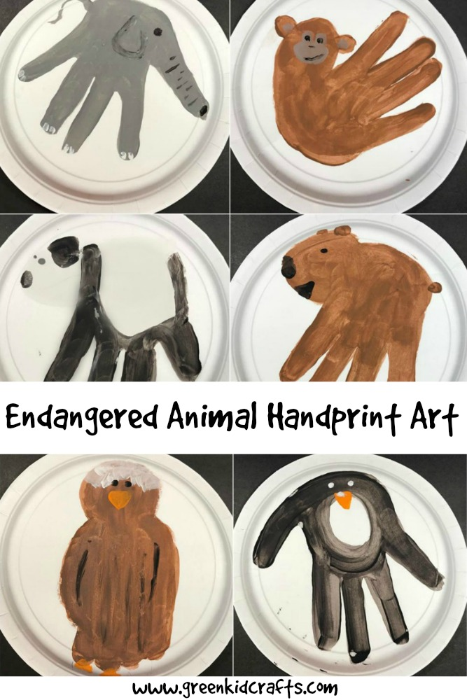 Endangered animal educational activity. Make these animal handprints to teach kids about the animals on the endsgered species list.