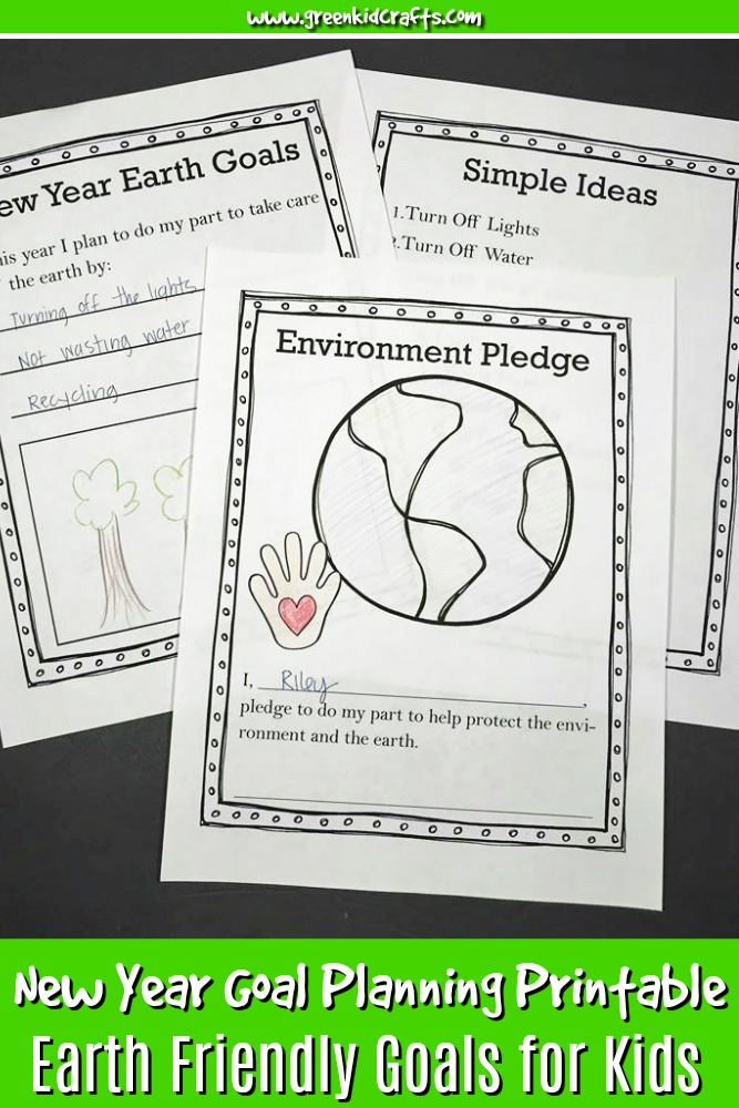 teach kids to help their environment in the new year with this fun goal planning printable