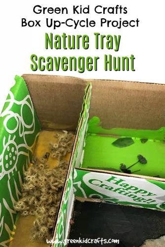 Make a a nature tray for kids out of an up-cycled box. Go on a scavenger hunt with kids using your Green Kid Crafts box!