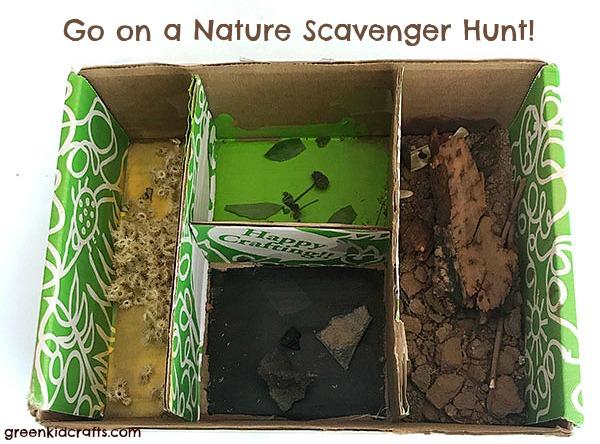 nature tray scavenger hunt