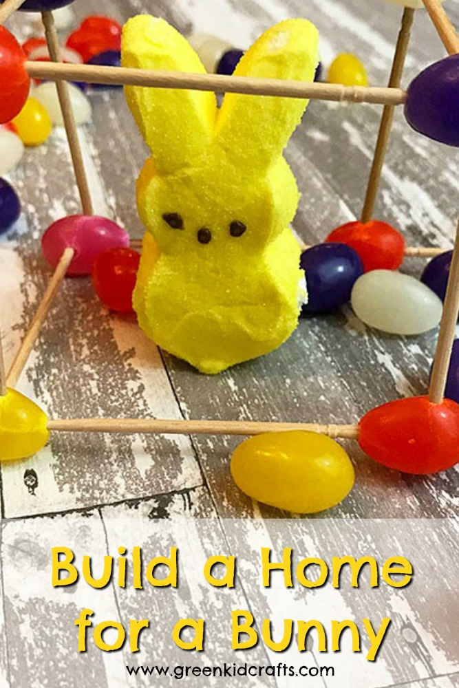 Build a jelly bean structure for a marshmally bunny. A fun Easter STEM activity.