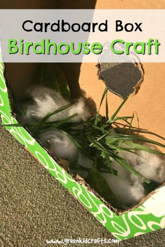 Upcycle a cardboard box into a birdhouse with this easy craft for kids. Nature crafts and bird crafts for kids. #birdcrafts #naturecrafts