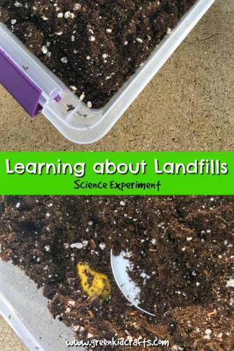 Learn about landfills with this simple science project. Trash and landfill science. #earthday #earthdayscience #earthdayactivity