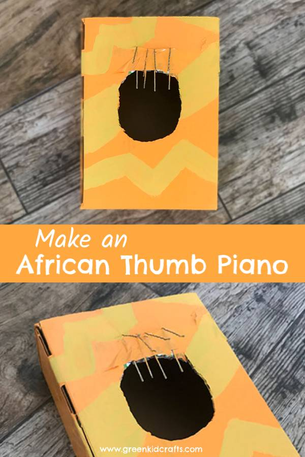 Make an African thumb piano from a cardboard box. DIY musical instrument for kids.