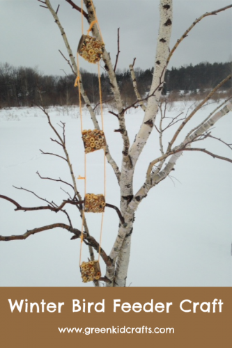 Winter bird feeder craft made from paper rolls.