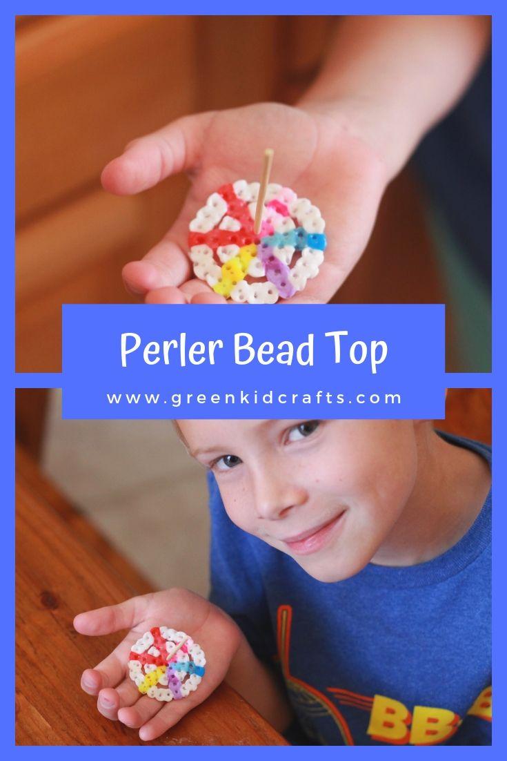 Perler Bead Top Toy - Green Kid Crafts